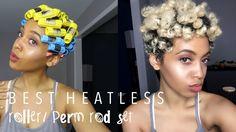 Best Heatless Roller Set / Perm Rod Set on Natural Hair Roller Set Natural Hair, 4c Natural Hair, Pelo Natural, Natural Hair Styles, Cute Short Natural Hairstyles, Short Curly Hair, Curly Hair Styles, Tapered Twa, Tapered Hair