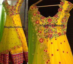 Rich Yellow Work Salwar by Mugdha - Indian Dresses
