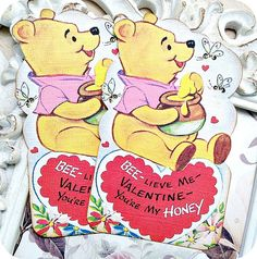 NEW on Etsy Vintage Winnie the Pooh Valentine by LittlePaperFarmhouse