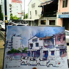 Jalan Dhoby, Johor Bahru  Saturday, 13 June 2015  #urbansketching #johorsketchers #klsketchers #klsketchnation #sketchwalk #sketchdate #johor #johorbahru #archilovers #usk #urbansketchers | por Hafizal_Nordin