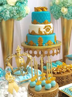 Royal Crown baby Shower Cake - Gold, Tiffany blue. Cake by www.allthatfrost.com - table by Bizzie Bee Creations