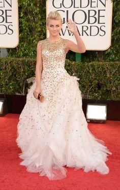 Julianne Hough - Monique Lhullier gown, Daniella Villegas jewelry and a Ferragamo clutch - 70th Annual Golden Globe Awards [Getty Images]