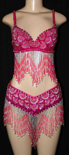 pink & silver dance costume