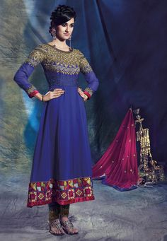 Dark #Blue Faux Georgette #Anarkali Churidar Kameez