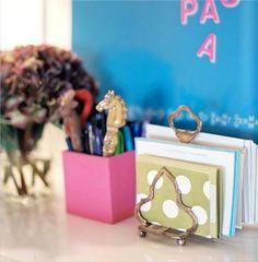 Great Office organization tip, vintage toast racks used for letters and bills! #organization #toastrack #everythingfab