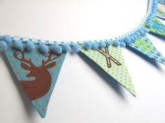 Wimpelkette mit Hirsch oder Schneeflocken - Stickdatei via Makerist.de