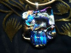 Large Lightweight Fused Dichroic Glass Original One Of A Kind ALIEN Series Pendant 9AP11B - Dune Glass