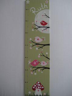 """Kinderzimmerdekoration - Messlatte ♥ Kindermesslatte """"Vögel"""",grün - ein Designerstück von eulentraum bei DaWanda"""
