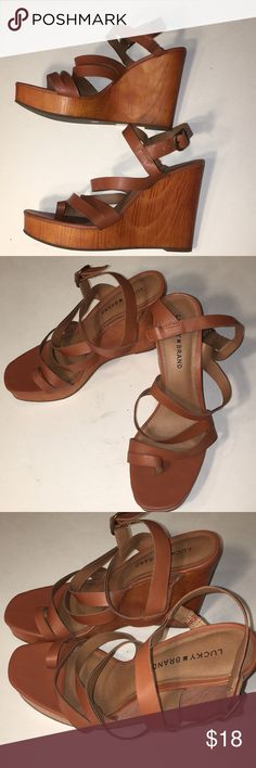 "LUCKY BRAND PRELOVED TAN VEGAN STRAPPY WEDGES SIZE 10 HEEL HEIGHT 5"" appx SCUFF MARK ON LEFT HEEL NOT TERRIBLY NOTICEABLE IN OVERALL GOOD CONDITION GREAT BUY Lucky Brand Shoes Wedges"