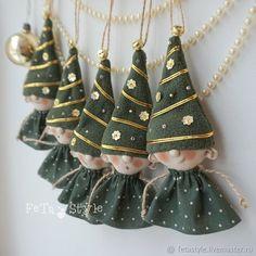 Купить Елки Игрушки на Елку Гирлянда Куклы маленькие - елочные игрушки купить, зеленый золотой