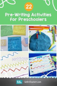Use these pre-writing activities for preschoolers to help your students develop the fine motor skills they'll need to write. Pre Writing, Writing Prompts, Writing Activities For Preschoolers, Preschool Ideas, Prewriting Skills, Finger Gym, English Language Arts, Early Childhood Education, Fine Motor Skills