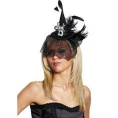 mini chapeau sorcière gothique chic noir femme avec voilette, bijou araignée, paillettes sequin, strass, ruban, tulle et plumes noires