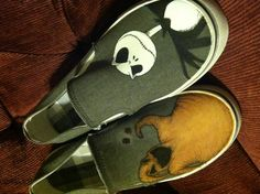 Hand painted shoes-Nightmare Before Christmas --by Erica Nash