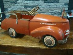 Vintage Garton 1930s Ford RARE Fire Truck Antique Pressed Steel Toy Pedal Car $1895