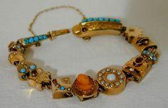 14K Gold Victorian Slide Bracelet  1841