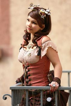 Cute steampunk costume full of expectation