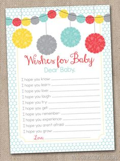 Printable Baby Wishes Card Party Poms Gender Neutral Baby Shower Game Design INSTANT DOWNLOAD