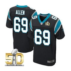 Men's NFL Carolina Panthers #69 Jared Allen Black 2016 Super Bowl 50 Elite Jersey