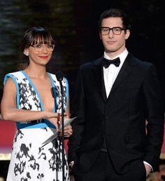 Rashida Jones and Andy Samberg in glasses