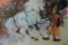 Bogusław Lustyk 'Circus Clown and Horse' - Polish Poster, 1989