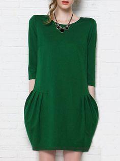 Pocket Design Three Quarter Sleeve Dress Green