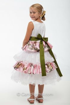 """camouflage flower girl dresses   ... / Kids Camo / Girls / 5601 """"Lacey"""" Ruffle and Lace Flower-girl dress"""