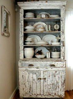 Chippy cabinet full of ironstone ..