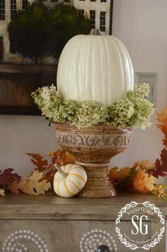 FALL HOME TOUR-chippy urn-white pumpkin-stonegableblog.com