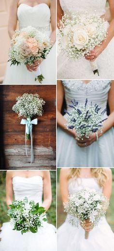 elegant baby's breath bridal bouquets ideas