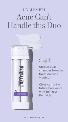 Skincare Regimens by Rodan + Fields Rodan + Fields Unblemish Dual Intensive Acne Treatment is a clar Unblemish Rodan And Fields, Rodan Fields Skin Care, Roden And Fields, Adult Acne Treatments, Rodan And Fields Business, Benzoyl Peroxide, Clean Pores, Nutrition