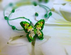 Butterfly necklace Green necklace Butterfly pendant Light green necklace Butterfly jewelry Lettuce pendant Unusual jewelry Gifts for Her