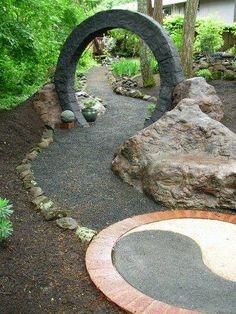 Garden Witch Garden: ~ a stargate and yin-yang in the garden.Witch Garden: ~ a stargate and yin-yang in the garden. Moon Garden, Dream Garden, Garden Art, Unique Gardens, Back Gardens, Outdoor Gardens, Witchy Garden, Denver Botanic Gardens, Meditation Garden