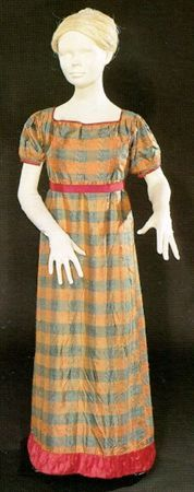 Girl's blue and salmon striped silk taffeta dress with pink satin bands at cuffs, neckline, hem, and waist, Portuguese, c. 1810.