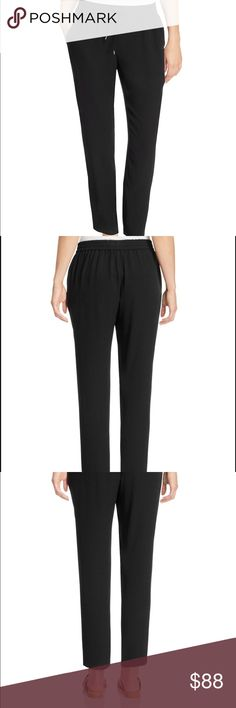 Eileen Fisher 100% Silk Ankle Drawstring Pants Lar Cut slim yet slouchy, these drawstring silk pants from Eileen Fisher are the epitome of laid-back luxury.  Size Large.    100% silk Machine washable Fits large, please consider ordering one size down for a slimmer fit Designed for an easy, classic fit Elasticized drawstring waist, two front slit pockets Tapered-leg silhouette, pull-on style Eileen Fisher Pants Ankle & Cropped