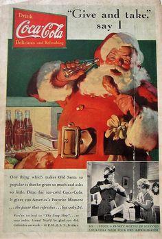 1937 Coca Cola Vintage Advertisement Christmas Wall Art Santa Claus Kitchen Decor Original Magazine Print Ad Holiday Paper Ephemera by RelicEclectic on Etsy