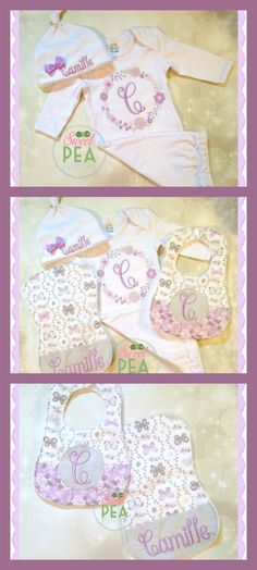 What a beautiful baby shower gift! Embroidered Baby Gift Set - Monogram Infant Gown - Baby Shower Gift for Girl - Personalized Baby Set - Monogram Bibs - Monogram Burp Cloth #ad
