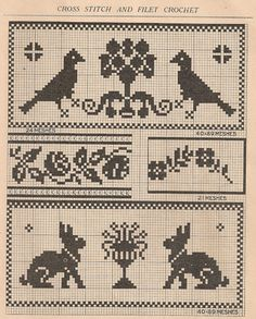 Free Simple Vintage Cross Stitch Patterns - links to more posts with free vintage charts in site's right side bar