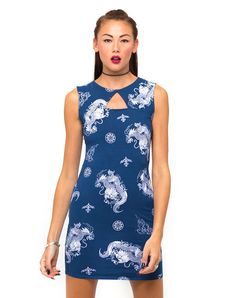 Motel Mina Cut Out Bodycon Dress in Oriental Dragon