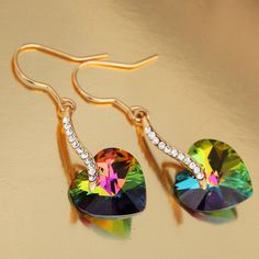 Pretty Multicolored Heart Earrings