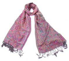 Izabella Pashmina - Colourful Pink Patterned Scarf