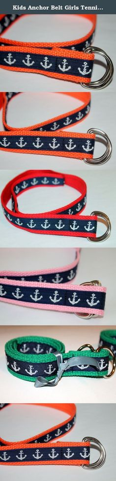 Kids Anchor Belt Girls Tennis D Ring Belt Boys Anchor Belt Toddler Anchor Belt Anchor Belt for Kids. Preppy anchor belt for boys and girls. Nautical anchor ribbon sewn to your choice of webbing. Custom made d ring belts perfect for kids of all sizes. Belt has webbing with navy blue anchor ribbon sewn to one side and then wrapped around the end. This would look great with off white or green webbing also. I can make them to fit your child or teens waist plus about 6 inches. Silver D ring...