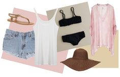 Beach day basics:  Classic Cut Offs  Neutral Sandals  White Camisole  Cover Up  LBB (little black bikini)  Floppy Hat  Oversize Tote  Sunscreen  Thermos  Sunglasses  Ipod  Book  Towel