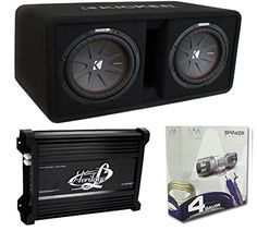 Kicker 43DCWR102 10-Inch 2400W Dual Subwoofers + Box + 3000W Mono Amp + Amp Kit (Package)