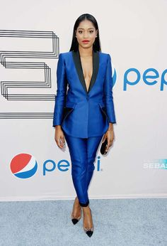 2  keke palmer bet awards experience antonio berardi suit and louboutin pumps