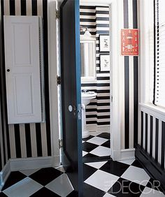 Don't be afraid to mix patterns. The results can be a total feast for the eyes. Just be sure to stick to one color palette, as the owner of this black and white Chicago bathroom did. Here,  horizontal and vertical stripes play off the diamond-patterned floor to create a stunningly graphic aesthetic. Tour the rest of the home.