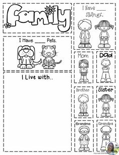 All About Me Interactive Notebook – No Prep! All About Me Interactive Notebook – No Prep! by The Super Teacher … Preschool Family Theme, All About Me Preschool Theme, All About Me Activities, Community Helpers Preschool, Preschool Lessons, Preschool Worksheets, Preschool Activities, Family Activities, My Family Worksheet