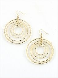 """Multi-hoop Chandelier Hoops $14.95  Four layers of orbiting hoops with hammered gold texture. Make a bold statement with these fun """"moving"""" hoop earrings, you will surely receive lots of compliments each time you wear them. 2 1/2"""" total drop length. #earrings #accessories #fashion #jewelry"""