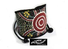 Bracelet manchette ethnique multicolore en tissu australien et cuir : Bracelet par monde-original