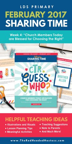 Primary Sharing Time 2017: Church Members Today are Blessed for Choosing the Right (February Week 4) - The Red Headed Hostess
