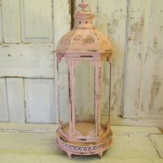 Tall glass display case hand painted and distressed pink shabby cottage chic observation box  home decor anita spero